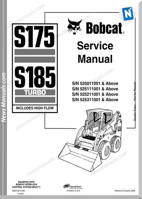 Bobcat S175 S185 Skid Loader Service Manual 6902732