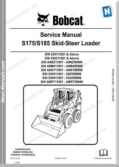 Bobcat S175 S185 Skid Loader Service Manual 6904132
