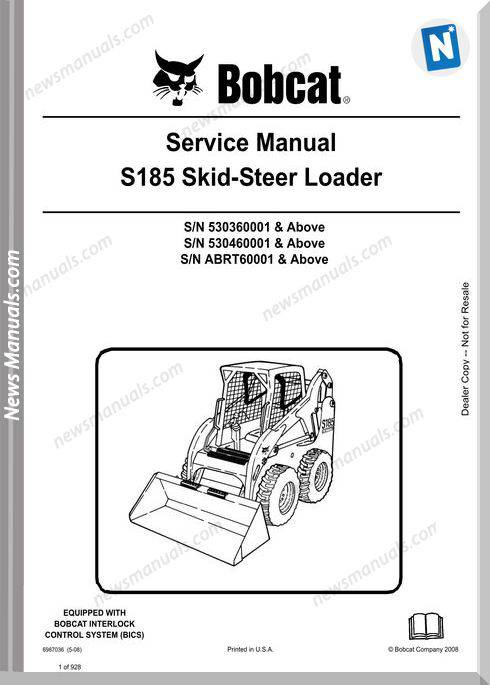 Bobcat S185 Skid Steer Loader Service Manual 6987036