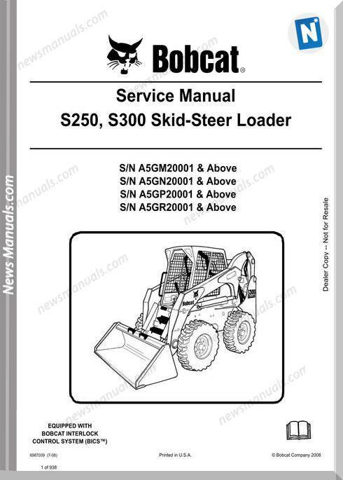 Bobcat S250 S300 Excavator Service Manual 6987039