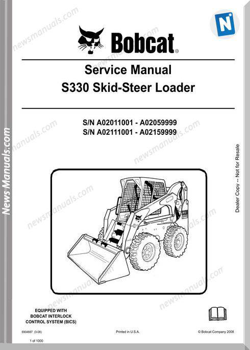 Bobcat S330 Hydraulic Excavator Service Manual 6904887
