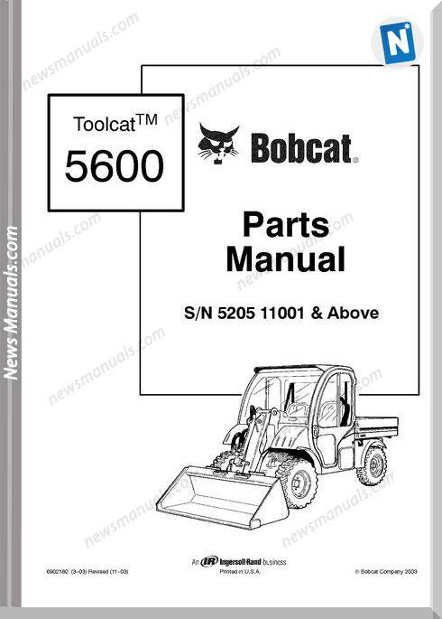 Bobcat Sn 5205 11001 Above Parts Manual