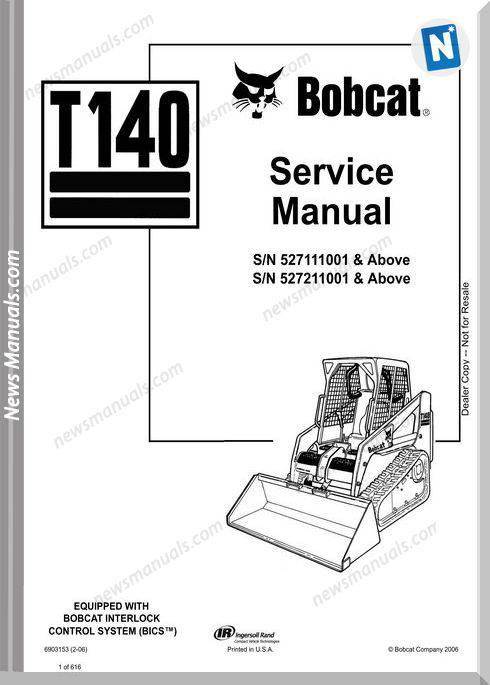 Bobcat T140 Hydraulic Excavator Service Manual 6903153