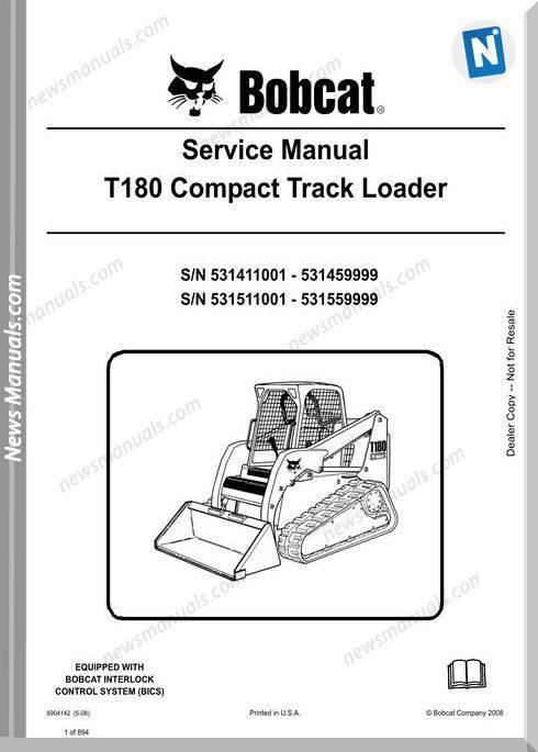 Bobcat T180 Hydraulic Excavator Service Manual 6904142