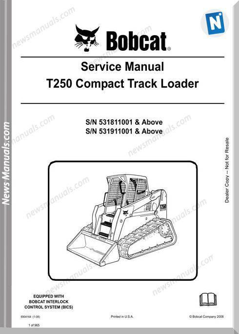 Bobcat T250 Hydraulic Excavator Service Manual 6904164