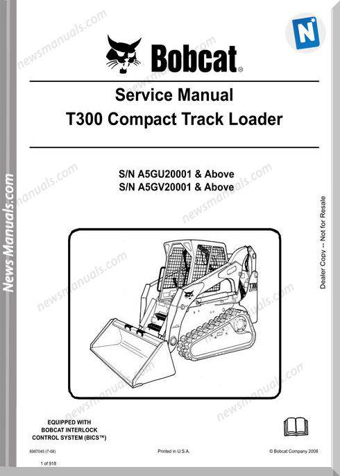 Bobcat T300 Hydraulic Excavator Service Manual 6987045