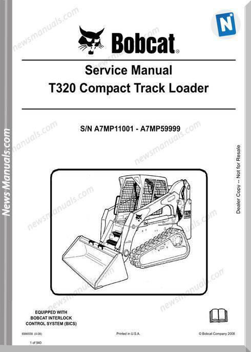 Bobcat T320 Hydraulic Excavator Service Manual