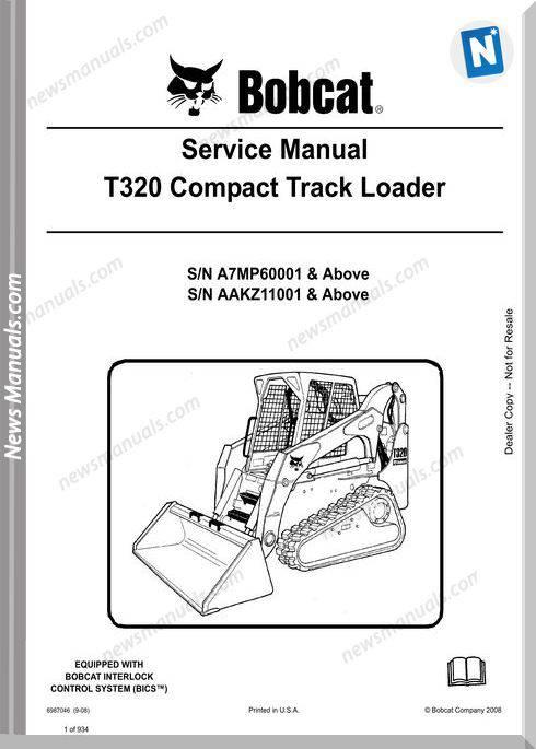 Bobcat T320 Hydraulic Excavator Service Manual 6987046