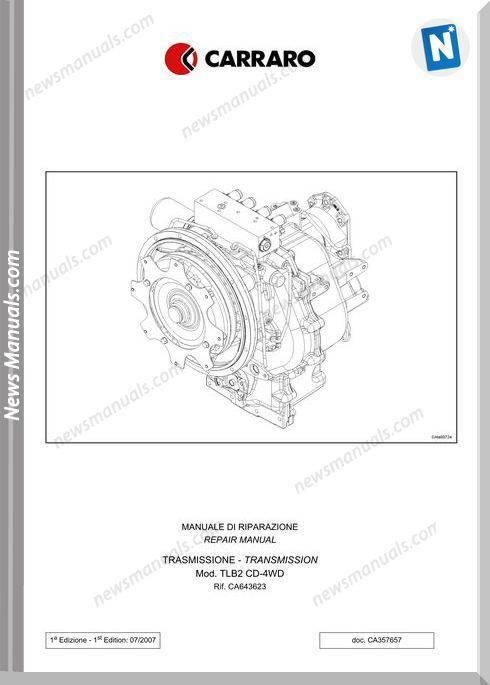 Carraro Computerized Tlb2 4Speed Transmission Repair Manual