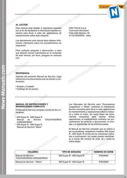 Case Backhoe Loader 590 695 Super R Tier 3 Service Manual