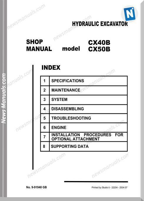 Case Cx40B Hydraulic Excavator Shop Manual