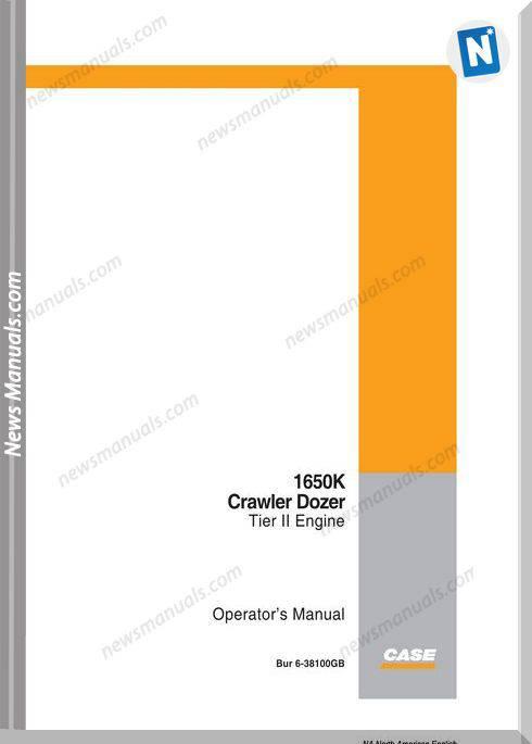 Case Dozer Crawler 1650K Series 2 Operation Manuals