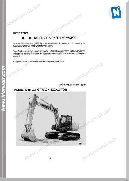 Case Excavator 1088 Models Long Track Owner Manual