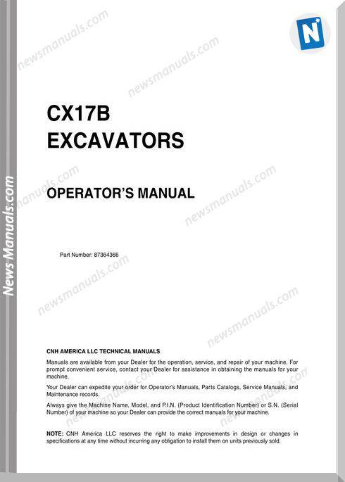Case Excavator Cx17B Operators Manual
