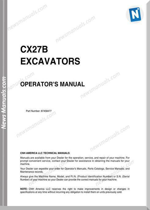 Case Excavator Cx27B Operators Manual