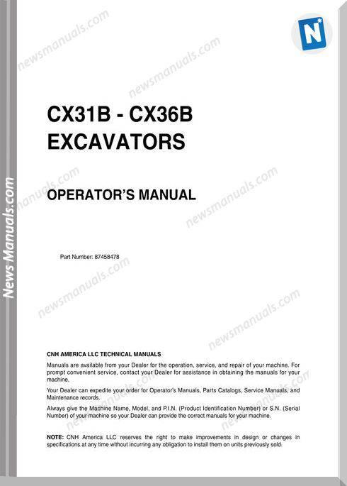 Case Excavator Cx31B Cx36B Operators Manual