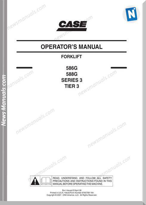 Case Forklift G Series 3 Forklift Operators Manual