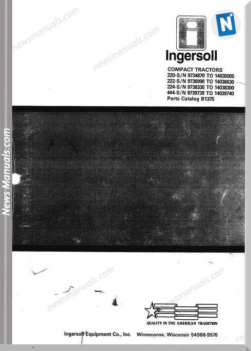 Case Ingersoll Tractor 220-222-444 Parts Manual B1375