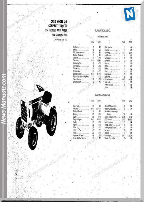 Case Ingersoll Tractor Model 210 1323  Parts Catalog