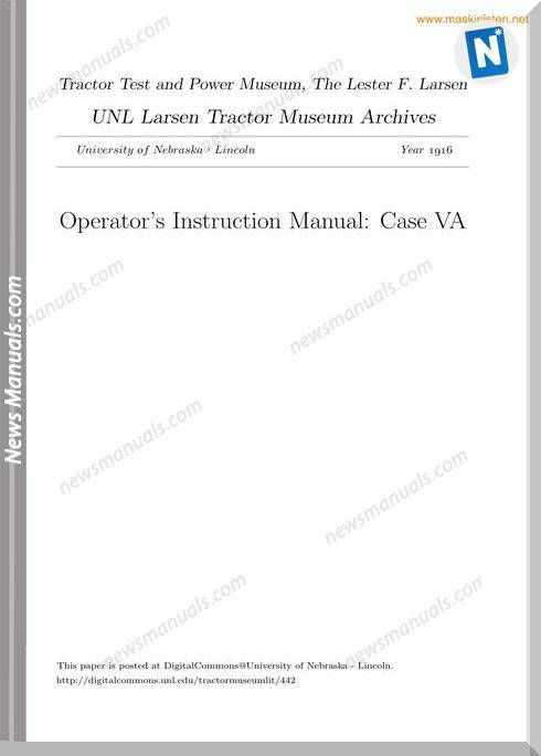 Case Va Operators Instruction Manual Sec Wat