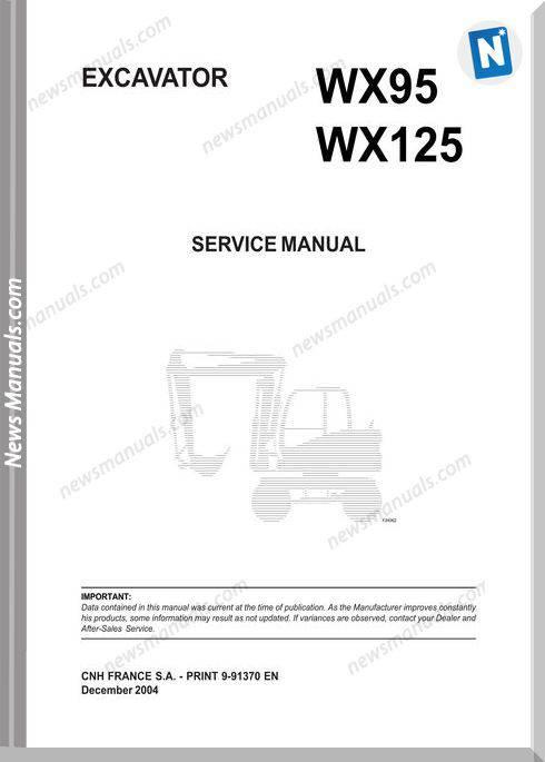 Case Wx95 Wx125 Excavator Shop Manual