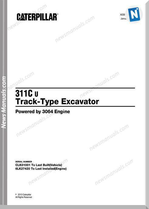 Caterpillar 311C U Track Excavator 2010 Parts Manual