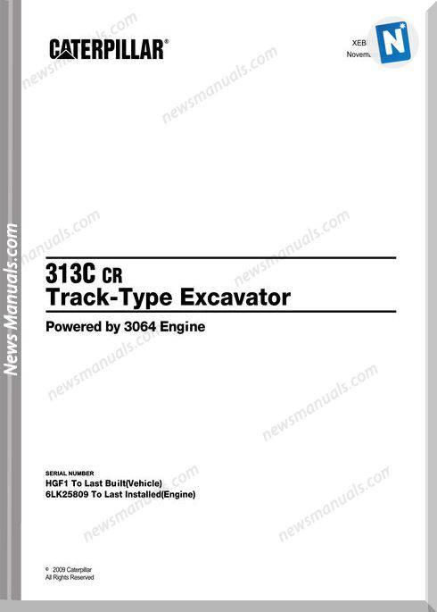 Caterpillar 313C Cr 2009 Track Excavator Parts Manual