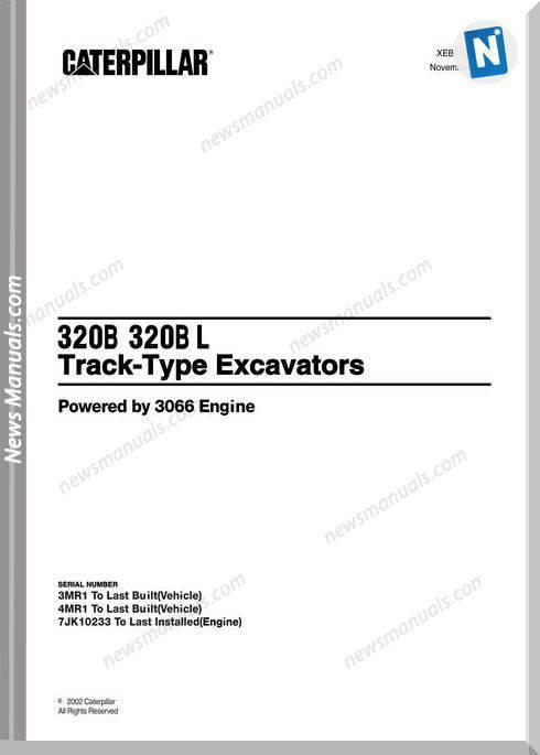 Caterpillar 320B 320Bl Track Excavators Workshop Manual