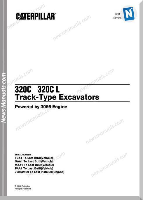 Caterpillar 320C,320Cl Track Type Excavator Part Manual