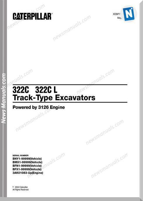 Caterpillar 322C-322C L Excavator 2004 Parts Manual