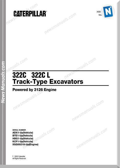 Caterpillar 322C-322C L Excavator 2005 Parts Manual