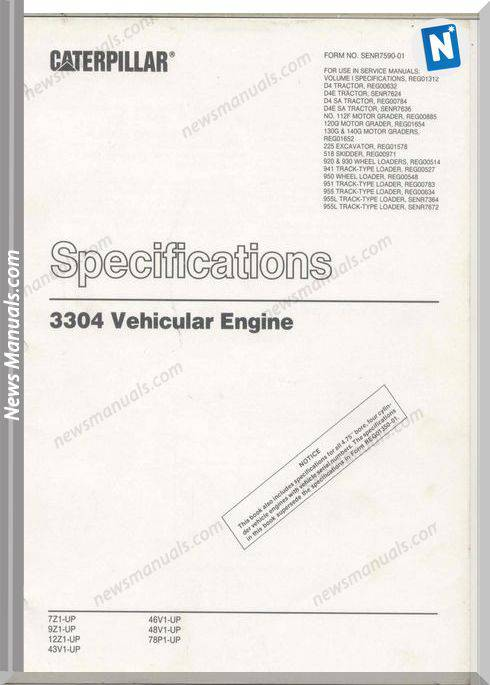 Caterpillar 3304 Vehicular Engine Specifications