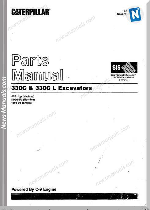 Caterpillar 330C 330C L Model Excavators Parts Manual