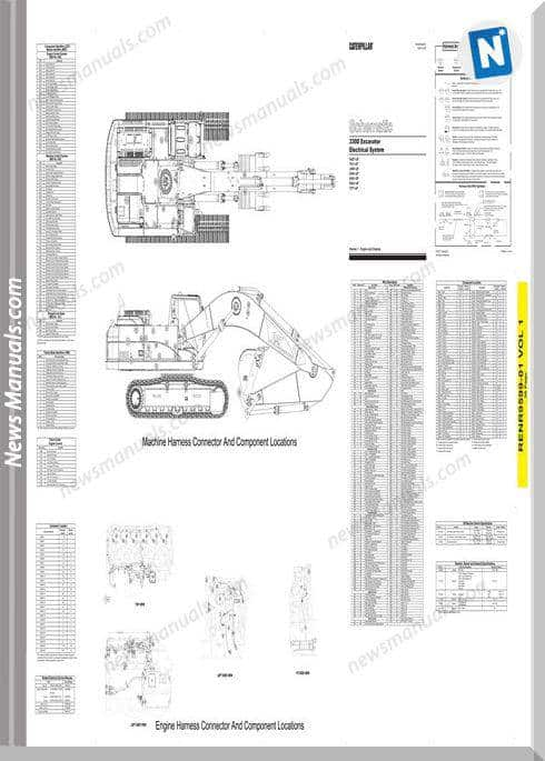 Caterpillar 330D Excavator Electrical System Schematic