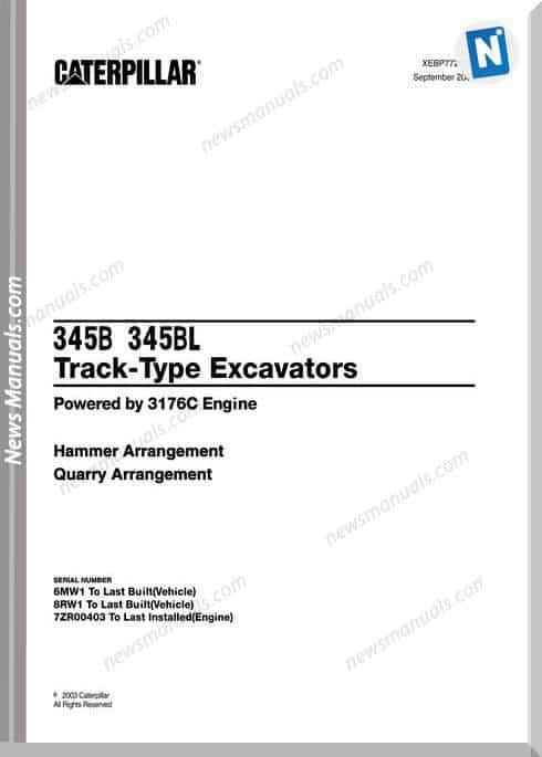 Caterpillar 345B, 345Bl Track Excavators Parts Manual