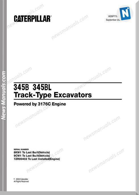Caterpillar 345B-345Bl Track-Type Excavator Part Manual