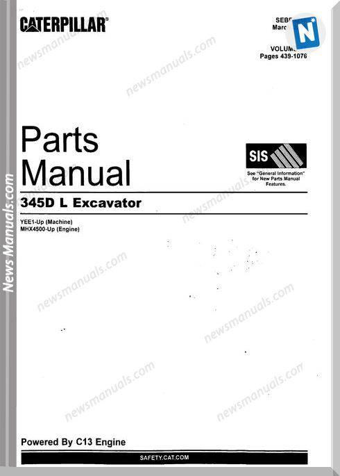 Caterpillar 345D L Excavator By C13 Engines Part Manual