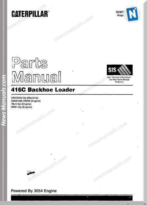 Caterpillar 416C Models Backhoe Loader Parts Manual