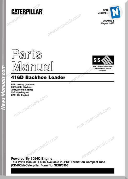 Caterpillar 416D Models Parts Manual