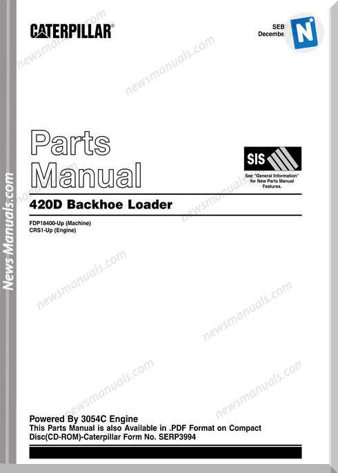 Caterpillar 420D Backhhoe Loader De Parts Manual