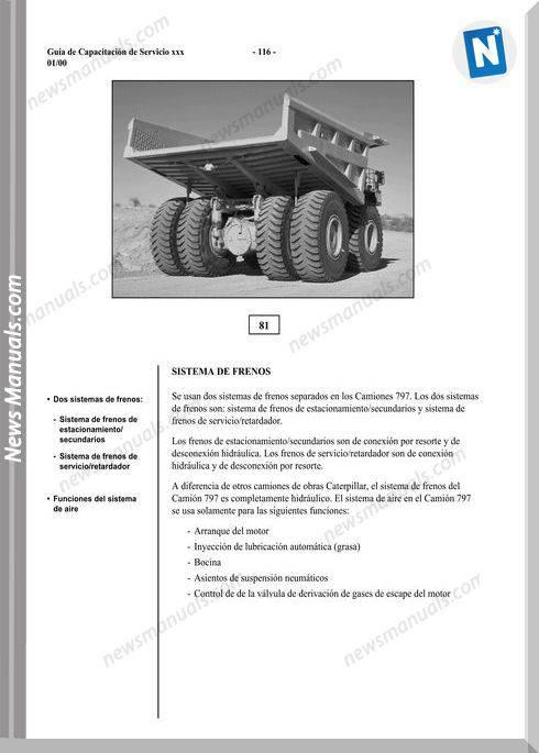 Caterpillar 797 Dump Brake System Spanish Repair Manual