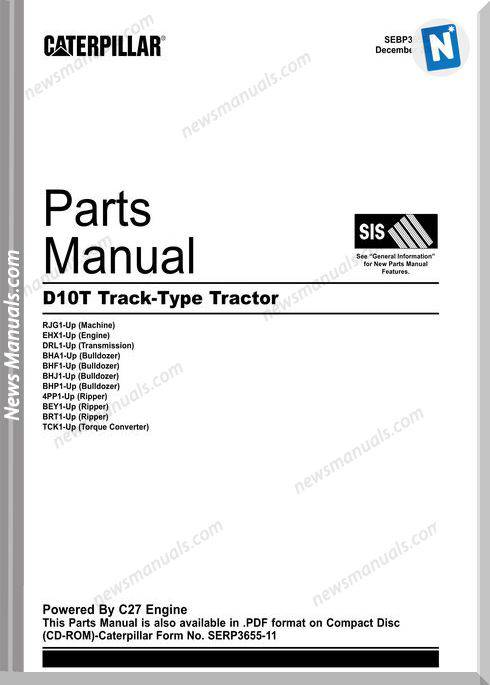 Caterpillar D10T Track Type Tractor Parts Manual