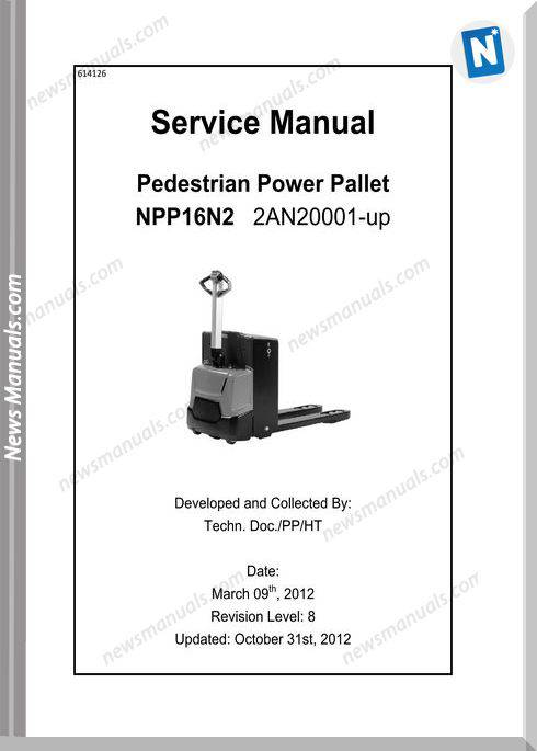 Caterpillar Forklifts Npp16N Warehouse Service Manual