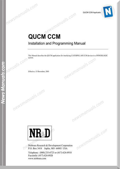 Caterpillar Qucm Ccm Installation Programming Manual