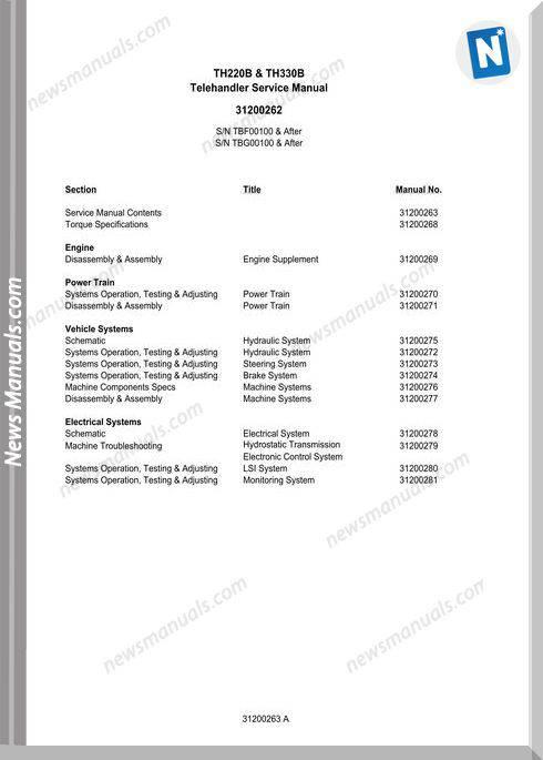 Caterpillar Telehander Th330B (Tbg) Service Manual