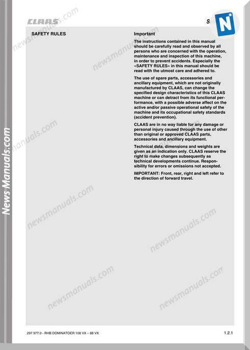 Claas Dominator 108Vx 98Vx 88Vx Mantenance Manual