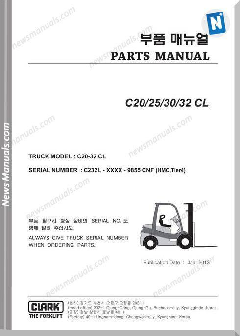 Clark Forklift C20-32Cl-Lot-No-9855 Part Manual
