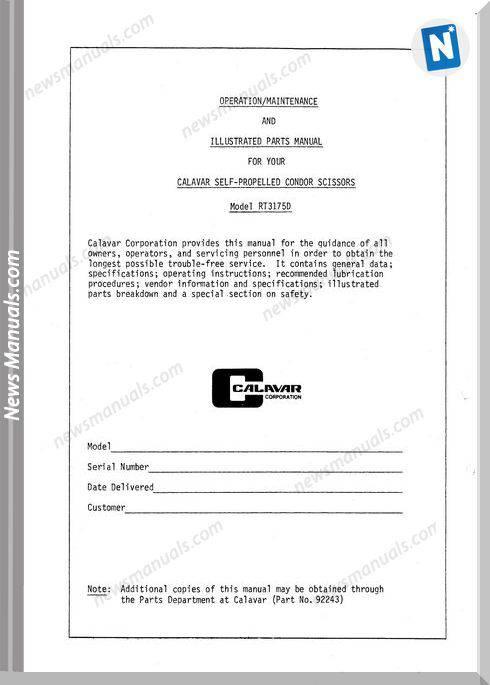 Condor Scissors Lift Rt3175D 92243 Parts Book
