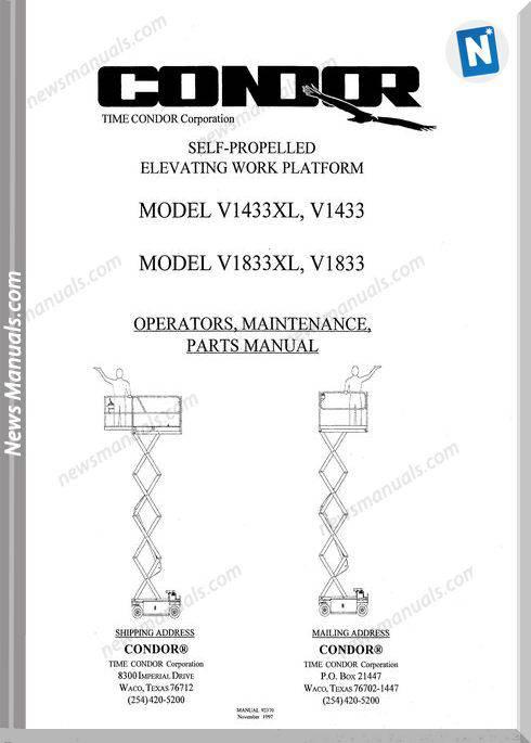 Condor Scissors Lift V1433xl V1833xl Parts Book