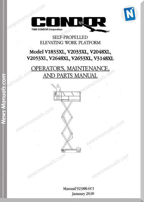 Condor Scissors Lift V1833Xl V2033Xl 92388 Parts Book